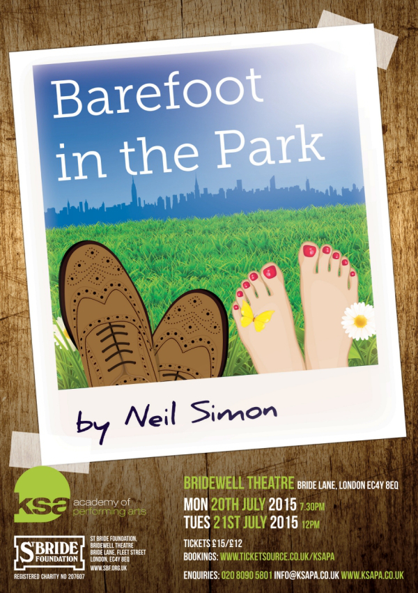 Barefoot In The Park Neil Simon Bridewell Theatre KSA Academy of Performing Arts London Drama School